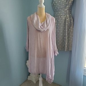 Soft surrounding asymmetrical gauze tunic top E46